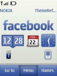 Theme Giả Lập FaceBook S40 Fash Động Báo Giờ, Pin, Sóng cực đẹp